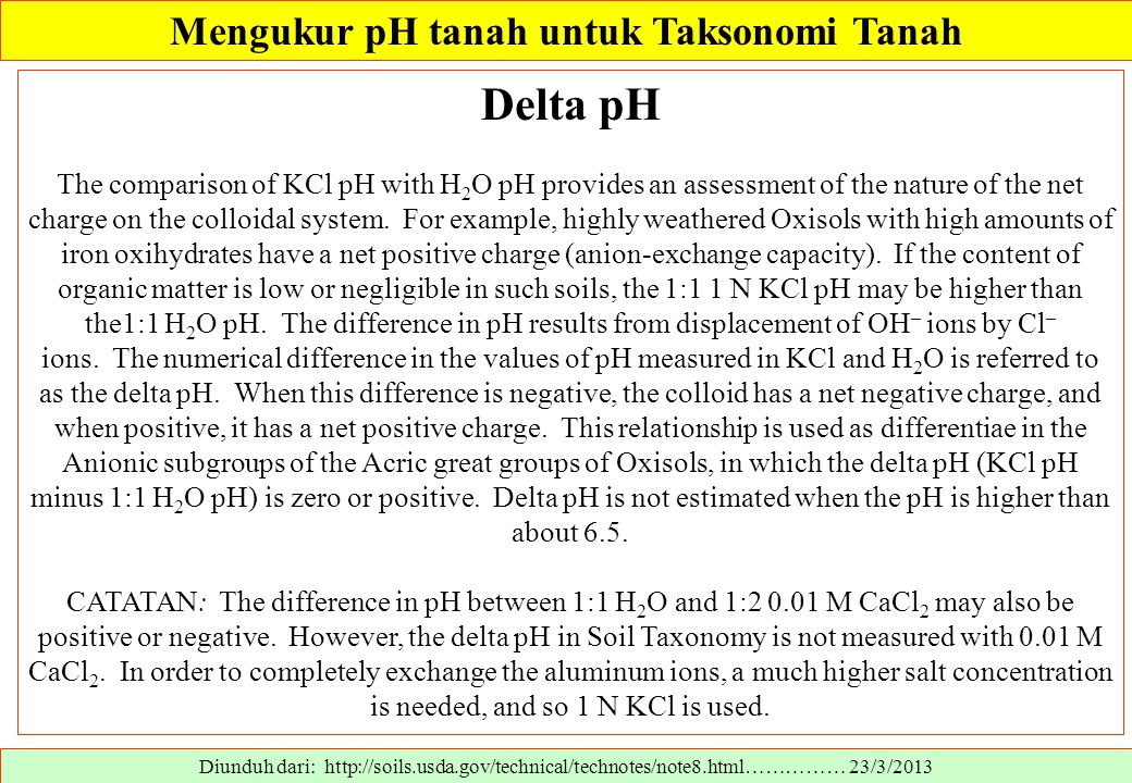 Diunduh dari: http://soils.usda.gov/technical/technotes/note8.html…………… 23/3/2013 Delta pH The comparison of KCl pH with H 2 O pH provides an assessment of the nature of the net charge on the colloidal system.