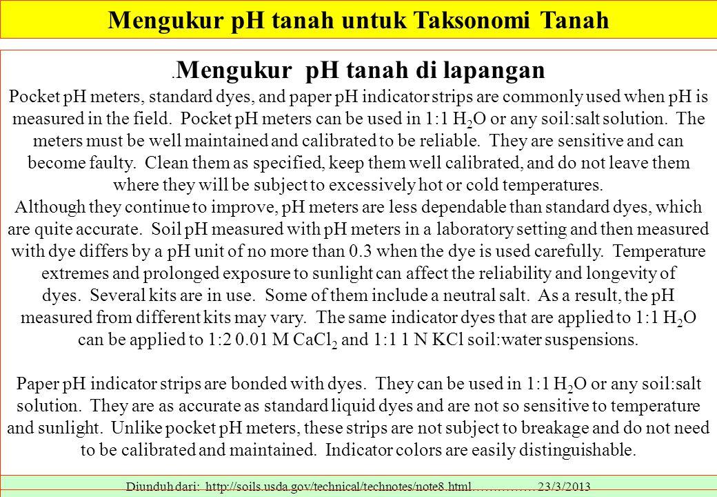 Diunduh dari: http://soils.usda.gov/technical/technotes/note8.html…………… 23/3/2013. Mengukur pH tanah di lapangan Pocket pH meters, standard dyes, and