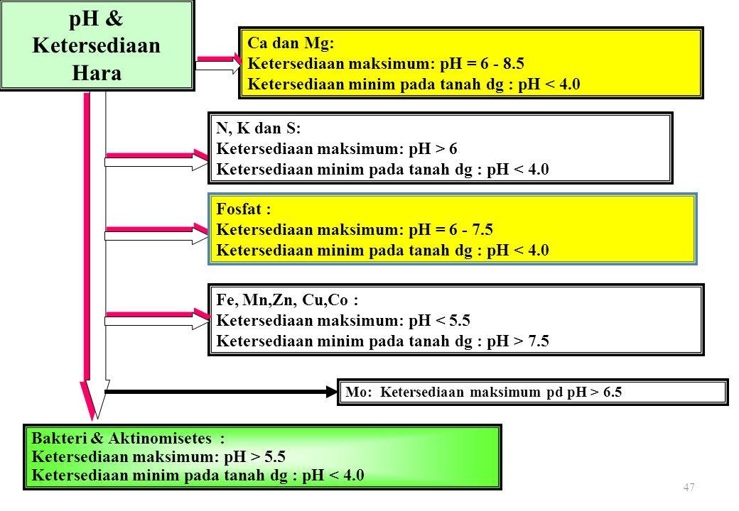 47 pH & Ketersediaan Hara Ca dan Mg: Ketersediaan maksimum: pH = 6 - 8.5 Ketersediaan minim pada tanah dg : pH < 4.0 N, K dan S: Ketersediaan maksimum