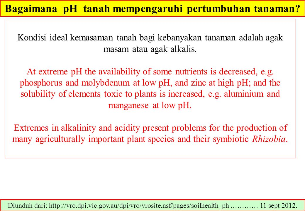 Kisaran pH optimum bagi pertumbuhan tanaman Diunduh dari: www.plantstress.com/articles/toxicity_m/soilph%20amend.pdf…………… 23/3/2013 Kisaran pH tanah 5.0-5.55.5.-6.56.5 – 7.0 Blueberry, Kentang, Ubijalar Jagung, Kapas, Sorghum, kedelai, Padi, Kacang- tanah, semangka, Melon, dll Alfalfa, beet, Clvers