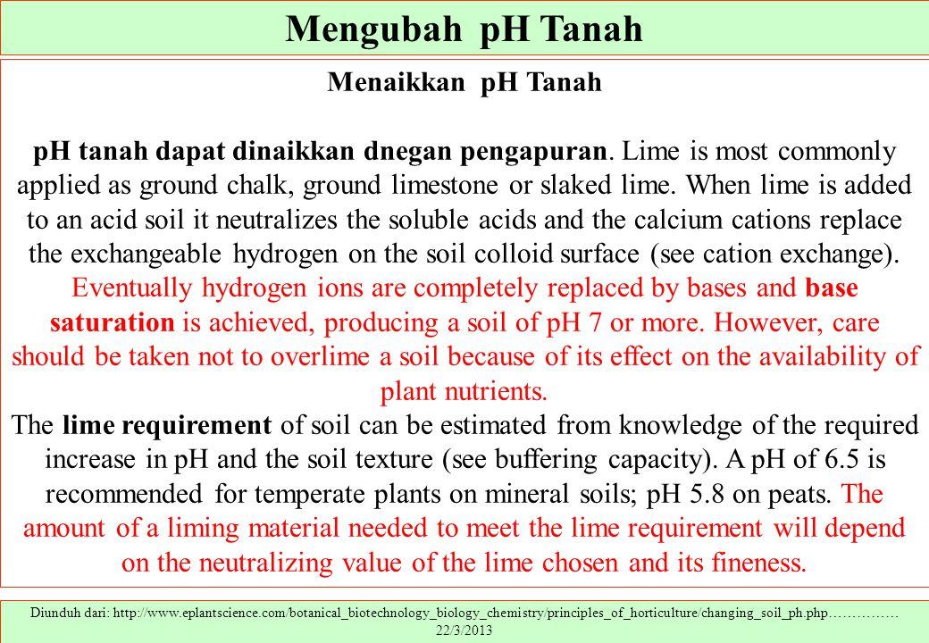 Mengubah pH Tanah Diunduh dari: http://www.eplantscience.com/botanical_biotechnology_biology_chemistry/principles_of_horticulture/changing_soil_ph.php
