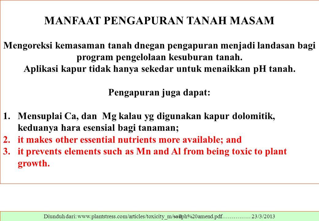 Diunduh dari: www.plantstress.com/articles/toxicity_m/soilph%20amend.pdf…………… 23/3/2013 MANFAAT PENGAPURAN TANAH MASAM Mengoreksi kemasaman tanah dneg