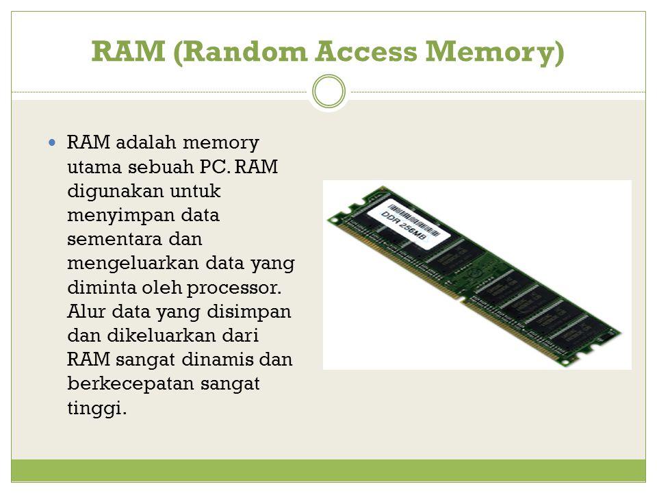 RAM (Random Access Memory) RAM adalah memory utama sebuah PC.