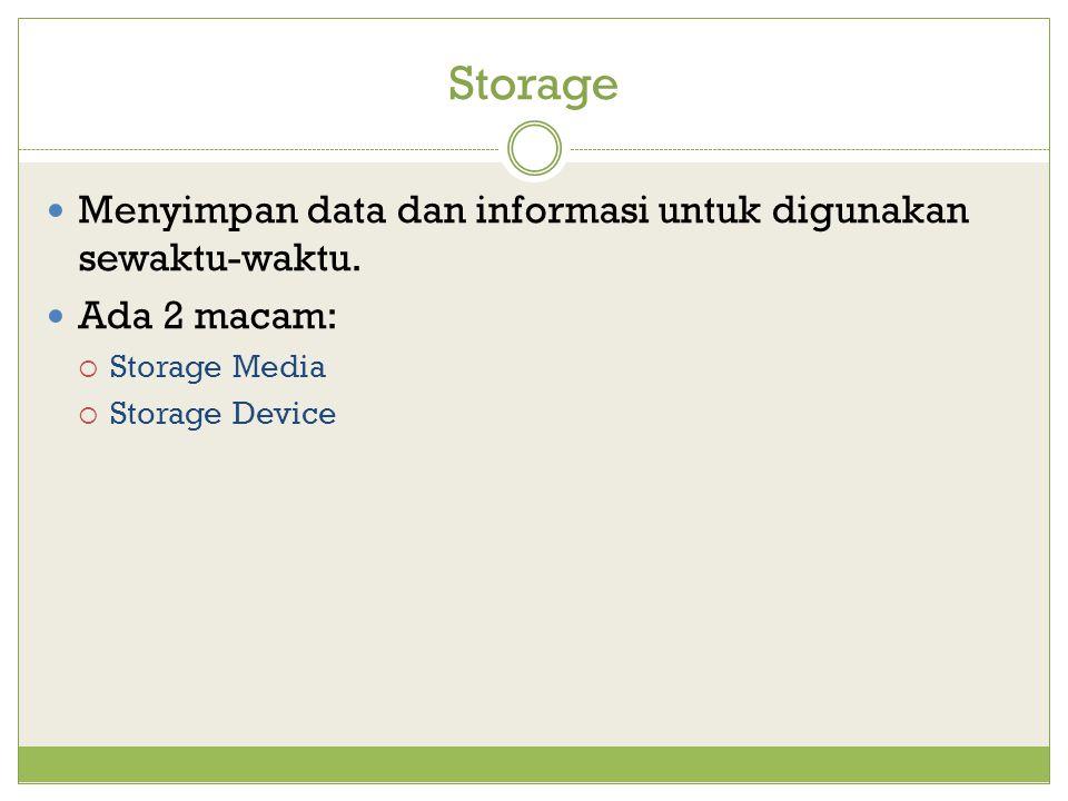 Storage Menyimpan data dan informasi untuk digunakan sewaktu-waktu.