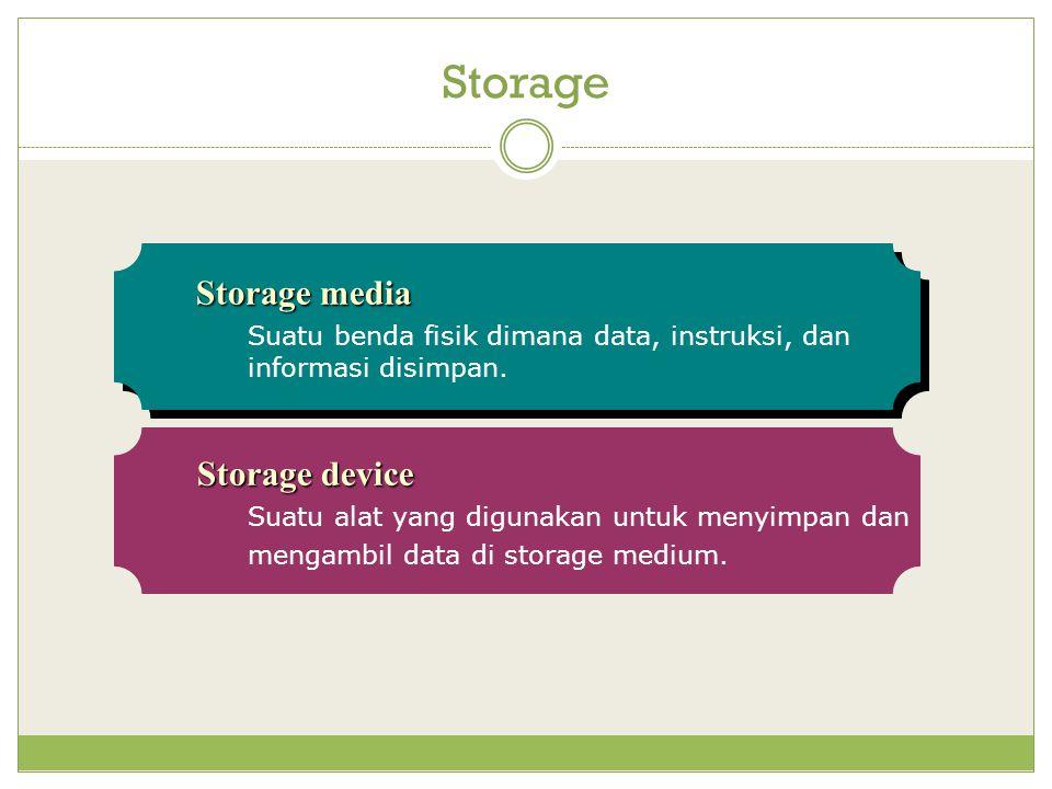 Storage Storage media Suatu benda fisik dimana data, instruksi, dan informasi disimpan.