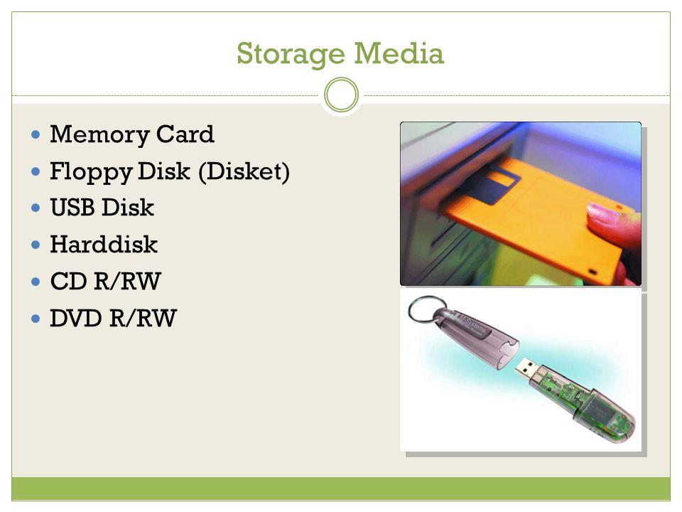 Storage Media Memory Card Floppy Disk (Disket) USB Disk Harddisk CD R/RW DVD R/RW