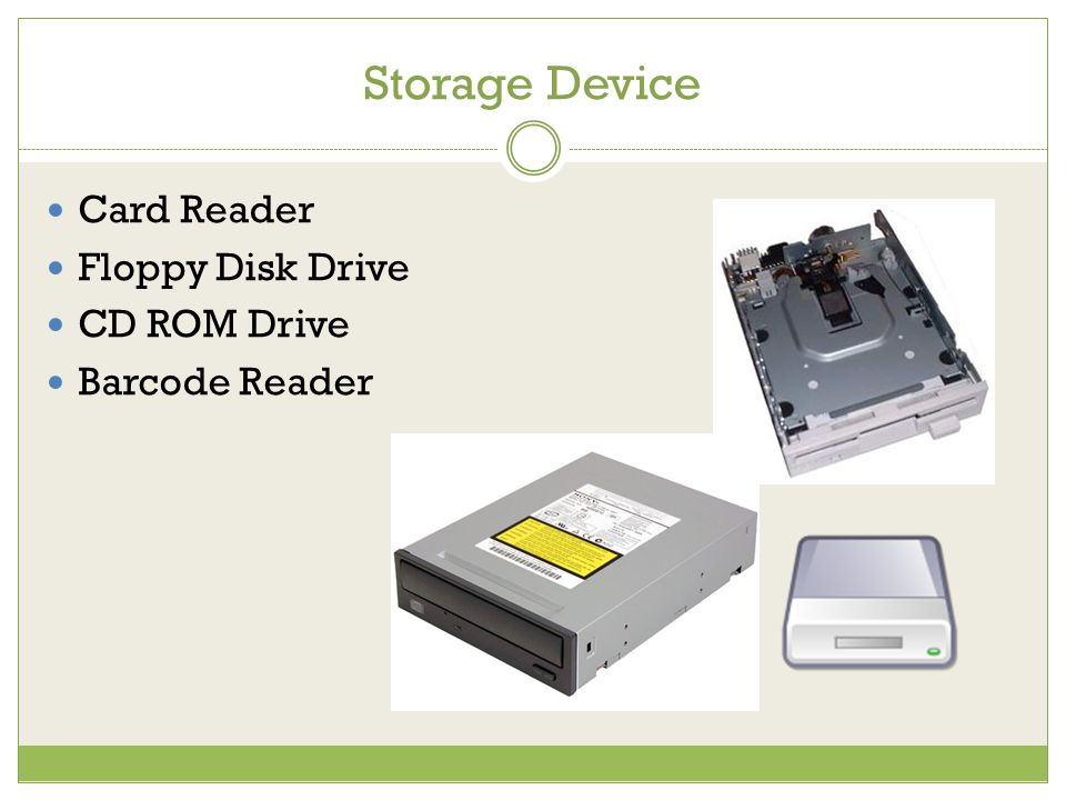 Storage Device Card Reader Floppy Disk Drive CD ROM Drive Barcode Reader