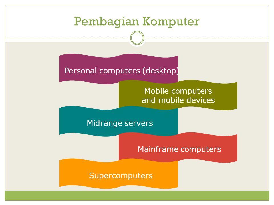 Pembagian Komputer Personal computers (desktop) Mobile computers and mobile devices Midrange serversMainframe computersSupercomputers