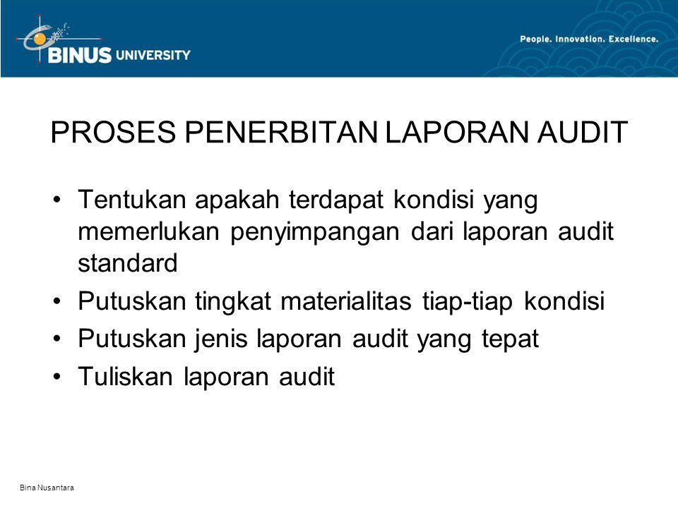 Bina Nusantara PROSES PENERBITAN LAPORAN AUDIT Tentukan apakah terdapat kondisi yang memerlukan penyimpangan dari laporan audit standard Putuskan ting