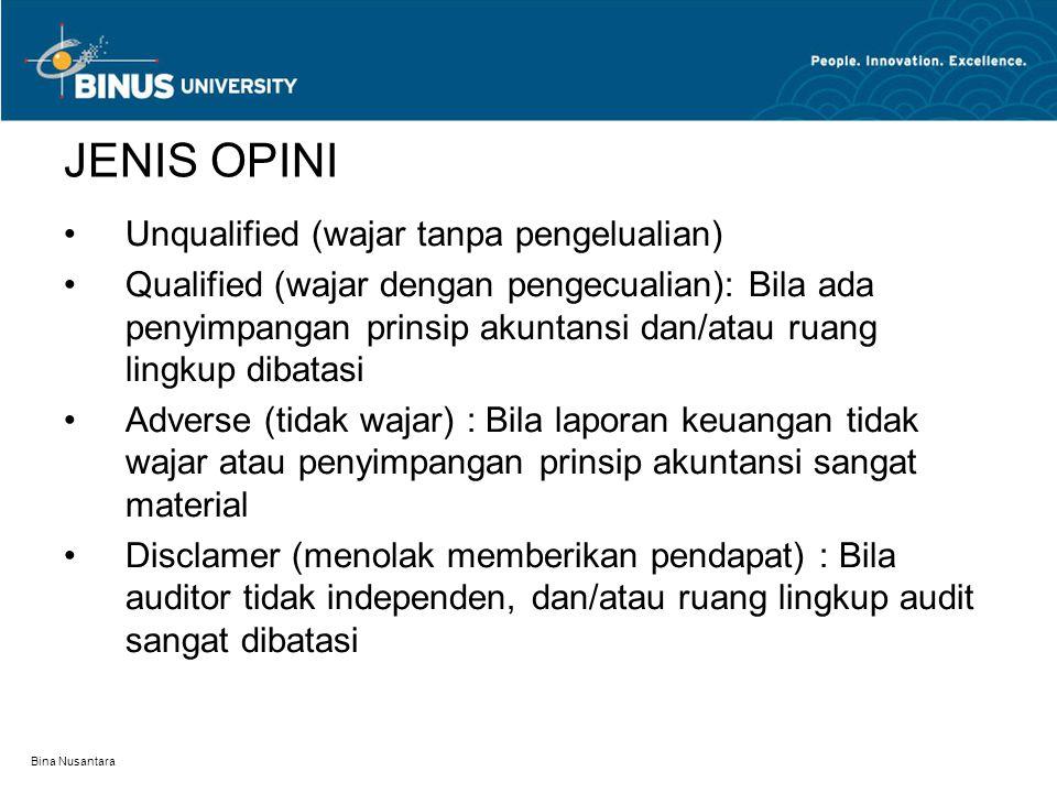 Bina Nusantara JENIS OPINI Unqualified (wajar tanpa pengelualian) Qualified (wajar dengan pengecualian): Bila ada penyimpangan prinsip akuntansi dan/a
