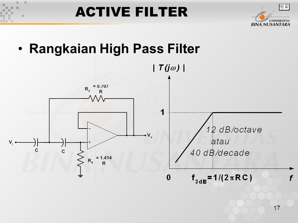 17 ACTIVE FILTER Rangkaian High Pass Filter