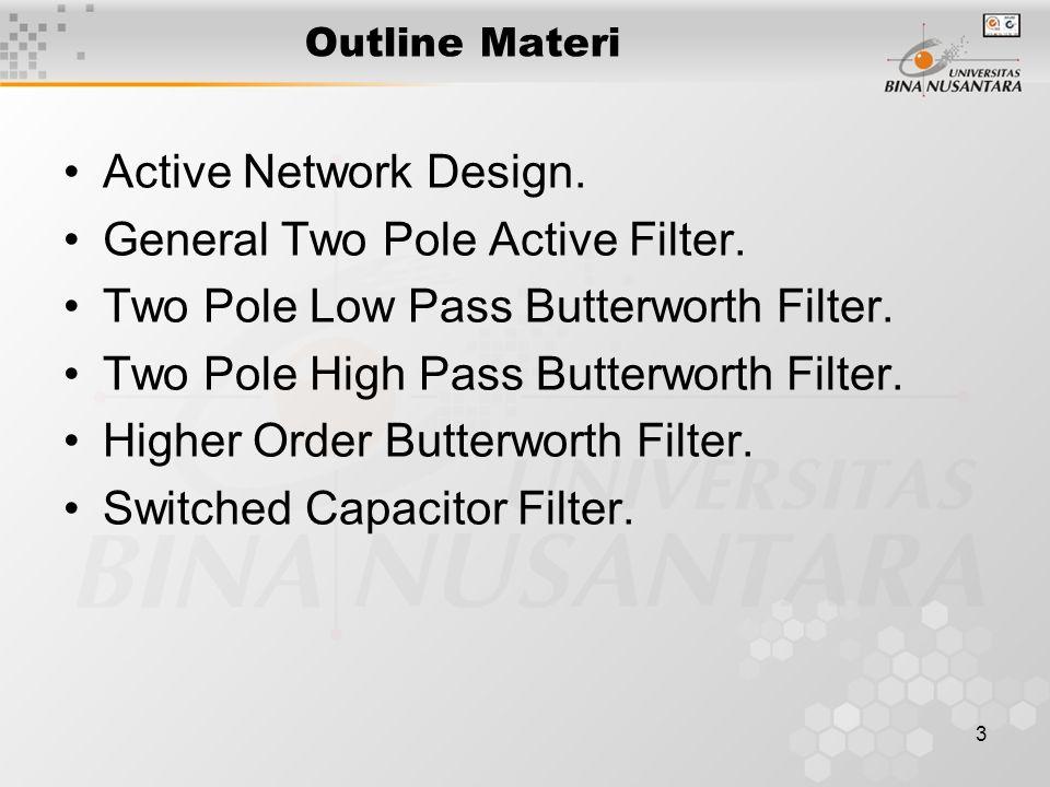 4 Active Network Design High Pass Filter Fungsi Alih rangkaian diatas :