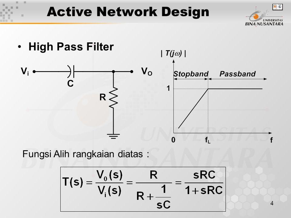 15 ACTIVE FILTER Two Pole High Pass Butterworth Filter –Dua kapasitor dan dua resistor pada low-pass filter saling ditukarkan akan membentuk high pass filter.
