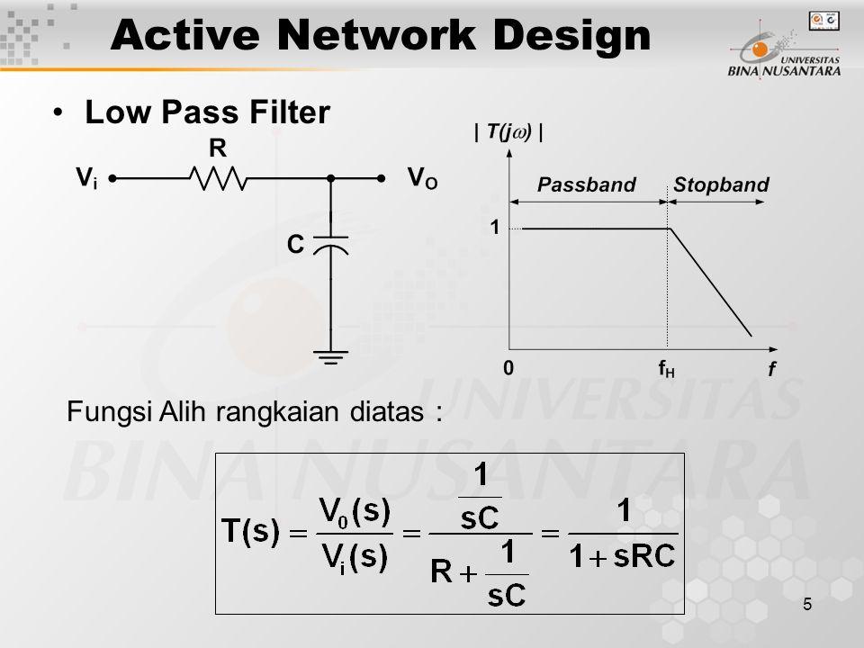 16 ACTIVE FILTER Frekuensi 3 dB atau frekuensi cutoff: dengan : R3 = 0.707 C;R4 = 1.414 C Besar fungsi alih :