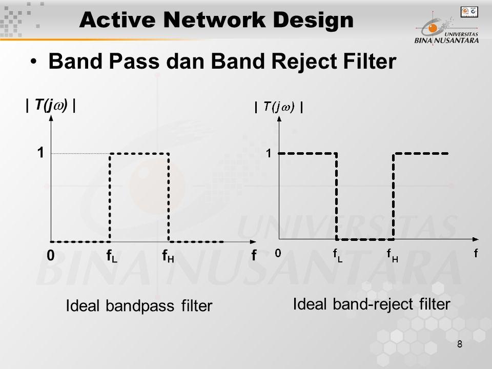 9 ACTIVE FILTER Two Pole Active Filter Low pass filter : Y1 dan Y2 konduktans, Y3 dan Y4 kapasitor.