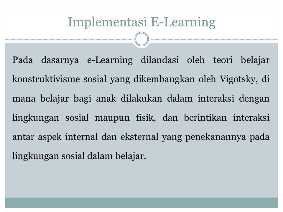 Implementasi E-Learning Pada dasarnya e-Learning dilandasi oleh teori belajar konstruktivisme sosial yang dikembangkan oleh Vigotsky, di mana belajar bagi anak dilakukan dalam interaksi dengan lingkungan sosial maupun fisik, dan berintikan interaksi antar aspek internal dan eksternal yang penekanannya pada lingkungan sosial dalam belajar.