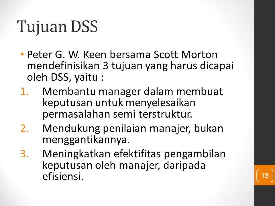 Tujuan DSS Peter G. W. Keen bersama Scott Morton mendefinisikan 3 tujuan yang harus dicapai oleh DSS, yaitu : 1.Membantu manager dalam membuat keputus