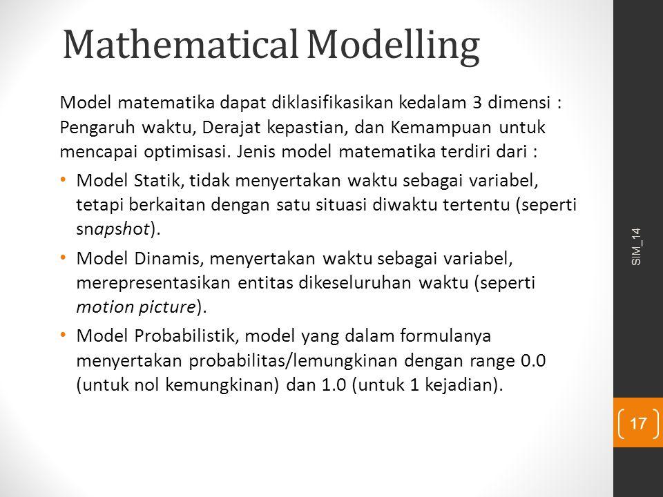 Mathematical Modelling Model matematika dapat diklasifikasikan kedalam 3 dimensi : Pengaruh waktu, Derajat kepastian, dan Kemampuan untuk mencapai opt