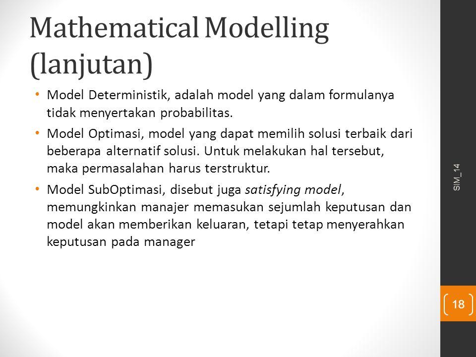 Mathematical Modelling (lanjutan) Model Deterministik, adalah model yang dalam formulanya tidak menyertakan probabilitas. Model Optimasi, model yang d