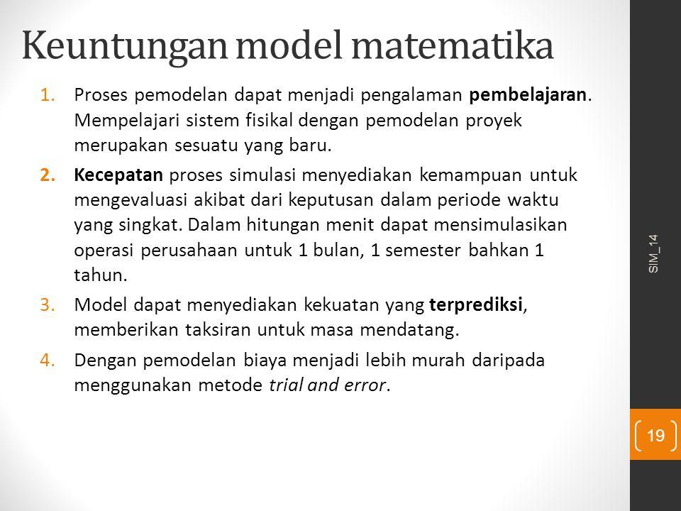 Keuntungan model matematika 1.Proses pemodelan dapat menjadi pengalaman pembelajaran. Mempelajari sistem fisikal dengan pemodelan proyek merupakan ses