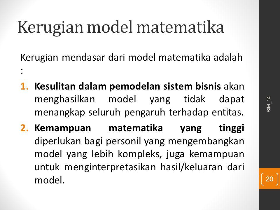 Kerugian model matematika Kerugian mendasar dari model matematika adalah : 1.Kesulitan dalam pemodelan sistem bisnis akan menghasilkan model yang tida