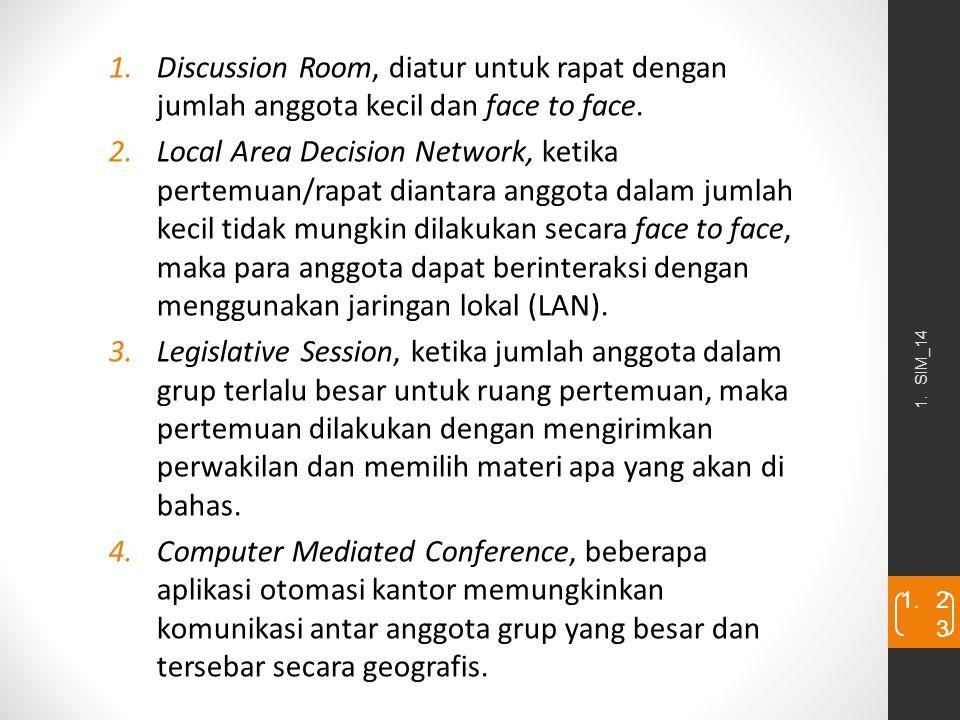 1. SIM_14 1. 2323 1.Discussion Room, diatur untuk rapat dengan jumlah anggota kecil dan face to face. 2.Local Area Decision Network, ketika pertemuan/