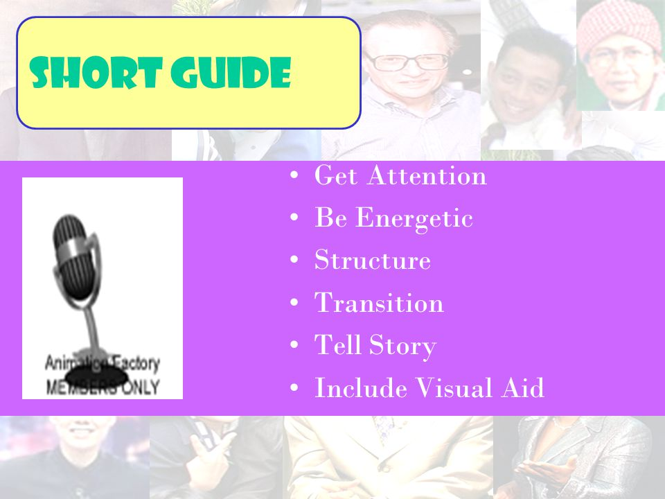 Get Attention Be Energetic Structure Transition Tell Story Include Visual Aid Short guide