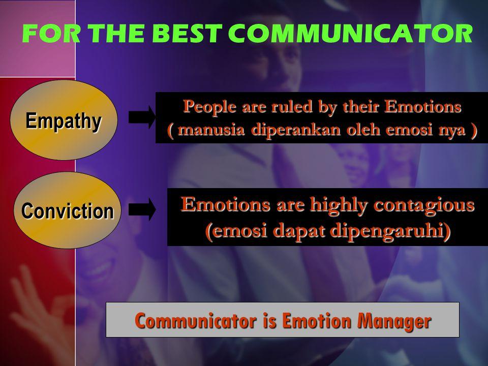 EMOTION MANAGEMENT Mengenali Emosi Diri Emosi Dasar: takut – marah – sedih – senang Mengelola Emosi Diri RELAXATION & STRESS MANAGEMENT Memotivasi Diri Sendiri Mengenali Emosi Orang Lain Mengelola Emosi Orang Lain Memotivasi Emosi Orang Lain RELEASE TECHNIQUES SUBCONSCIOUS REPROGRAMMING
