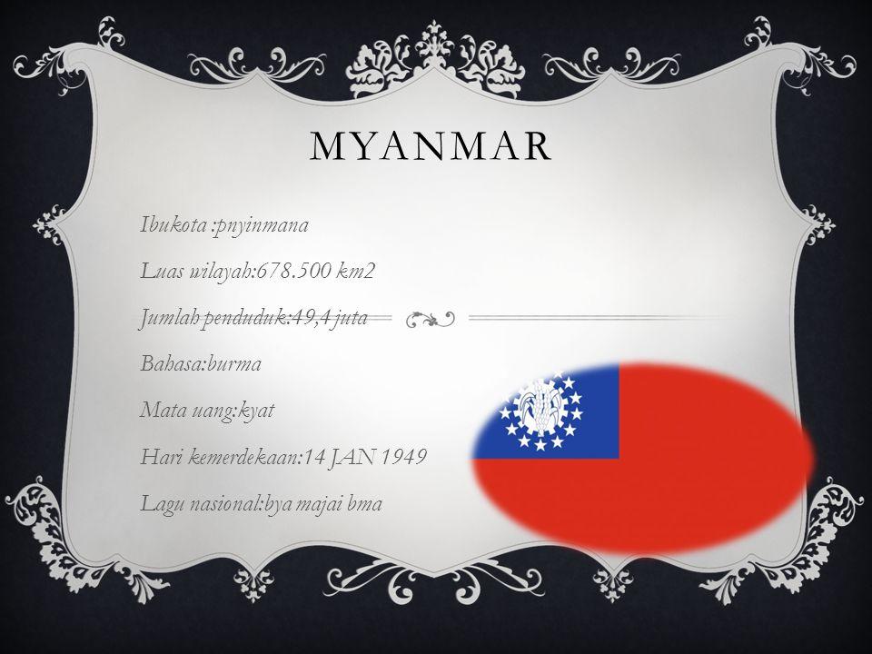 MYANMAR Ibukota :pnyinmana Luas wilayah:678.500 km2 Jumlah penduduk:49,4 juta Bahasa:burma Mata uang:kyat Hari kemerdekaan:14 JAN 1949 Lagu nasional:bya majai bma
