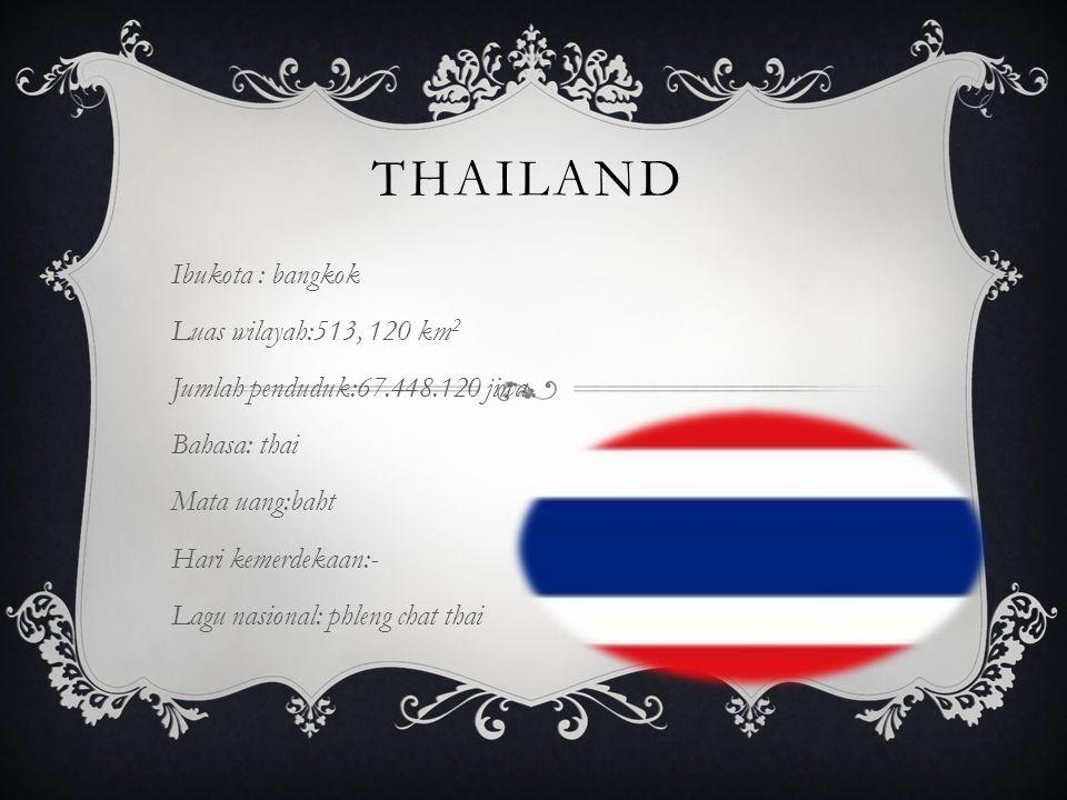 THAILAND Ibukota : bangkok Luas wilayah:513, 120 km 2 Jumlah penduduk:67.448.120 jiwa Bahasa: thai Mata uang:baht Hari kemerdekaan:- Lagu nasional: phleng chat thai