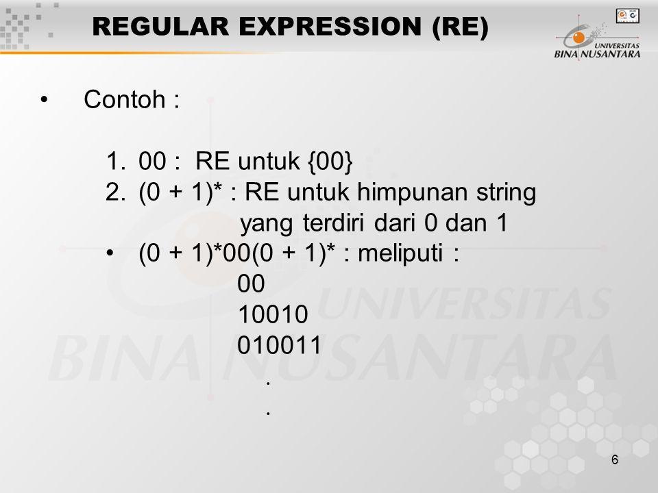 6 REGULAR EXPRESSION (RE) Contoh : 1.00 : RE untuk {00} 2.(0 + 1)* : RE untuk himpunan string yang terdiri dari 0 dan 1 (0 + 1)*00(0 + 1)* : meliputi