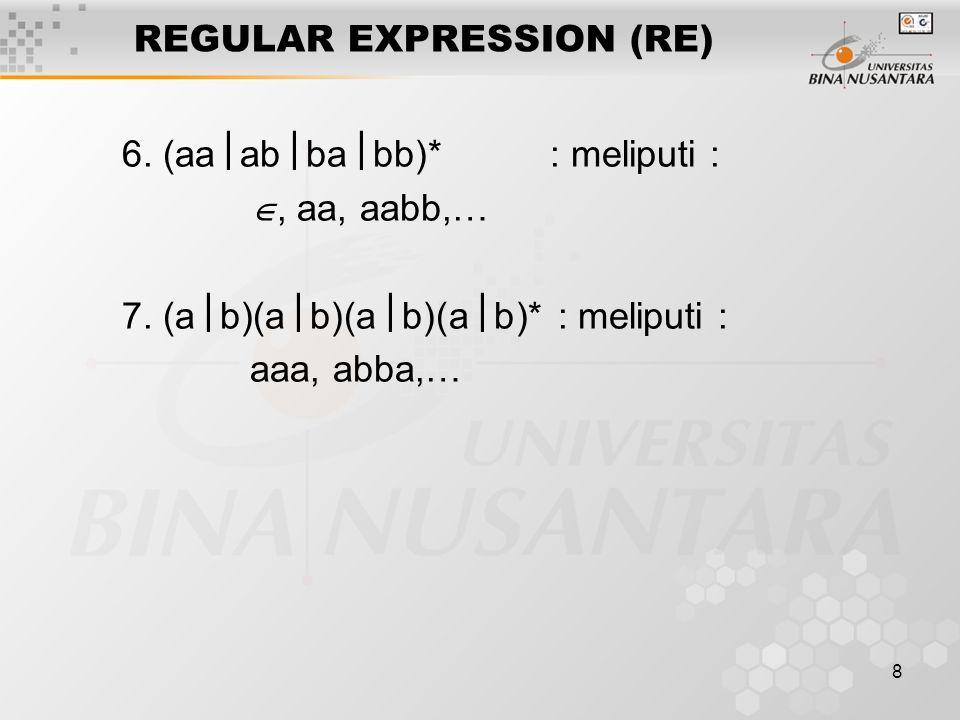 8 REGULAR EXPRESSION (RE) 6. (aa  ab  ba  bb)* : meliputi : , aa, aabb,… 7. (a  b)(a  b)(a  b)(a  b)* : meliputi : aaa, abba,…