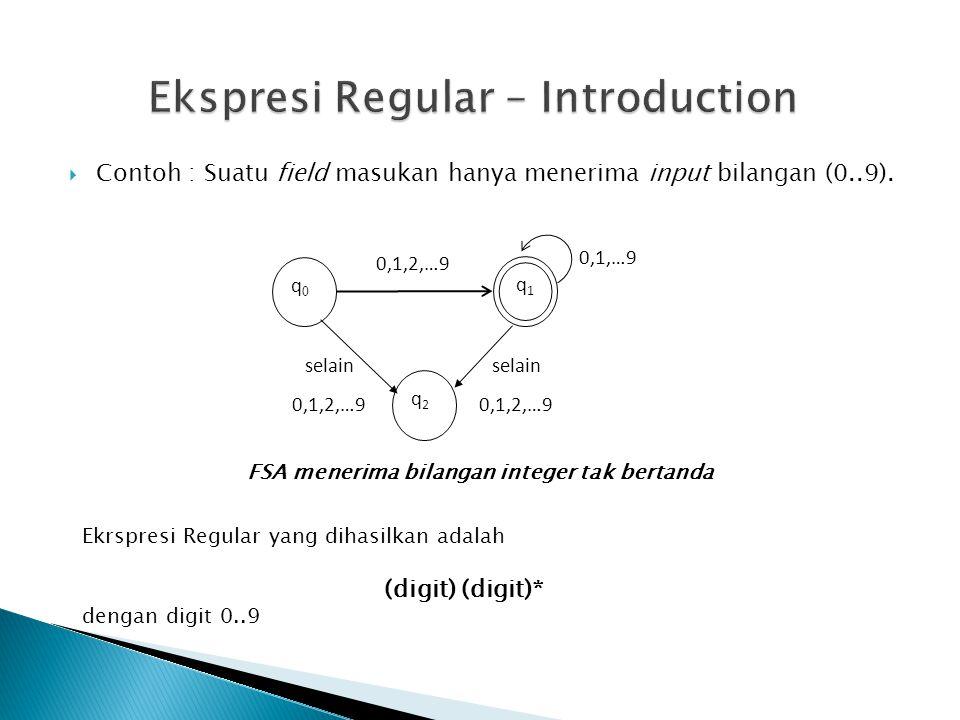  Contoh : Suatu field masukan hanya menerima input bilangan (0..9). q1q1 q0q0 q2q2 0,1,2,…9 0,1,…9 selain 0,1,2,…9 selain 0,1,2,…9 FSA menerima bilan