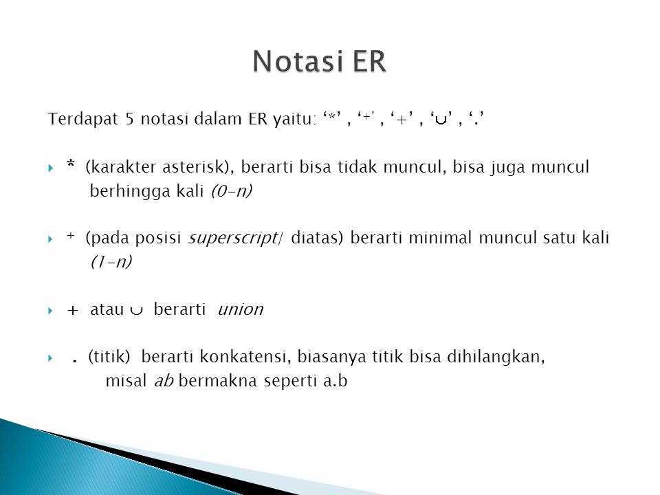 Terdapat 5 notasi dalam ER yaitu: '*', ' +', '+', '  ', '.'  * (karakter asterisk), berarti bisa tidak muncul, bisa juga muncul berhingga kali (0-n)