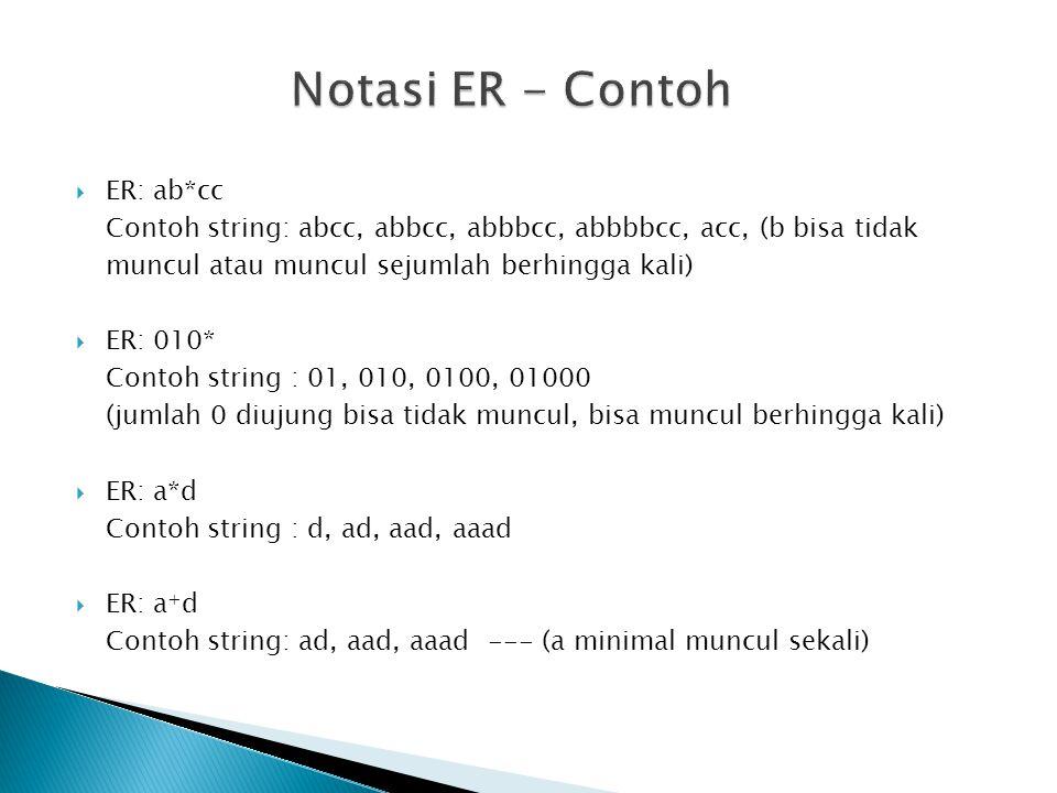 ER: ab*cc Contoh string: abcc, abbcc, abbbcc, abbbbcc, acc, (b bisa tidak muncul atau muncul sejumlah berhingga kali)  ER: 010* Contoh string : 01,