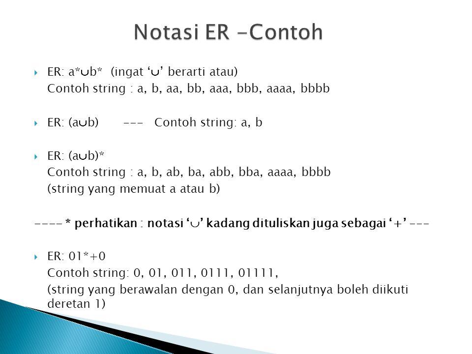  ER: a*  b* (ingat '  ' berarti atau) Contoh string : a, b, aa, bb, aaa, bbb, aaaa, bbbb  ER: (a  b)--- Contoh string: a, b  ER: (a  b)* Contoh
