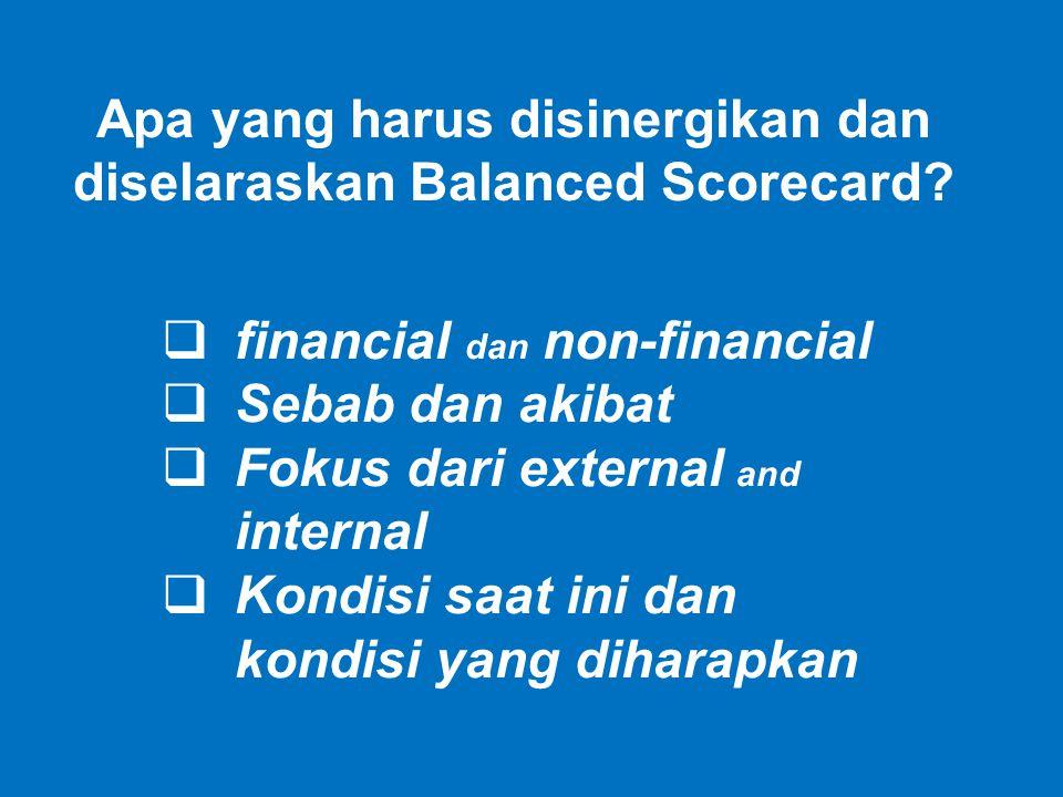  financial dan non-financial  Sebab dan akibat  Fokus dari external and internal  Kondisi saat ini dan kondisi yang diharapkan Apa yang harus disi