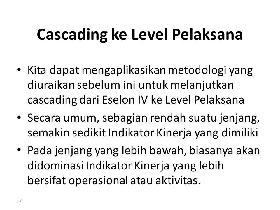 Cascading ke Level Pelaksana Kita dapat mengaplikasikan metodologi yang diuraikan sebelum ini untuk melanjutkan cascading dari Eselon IV ke Level Pela