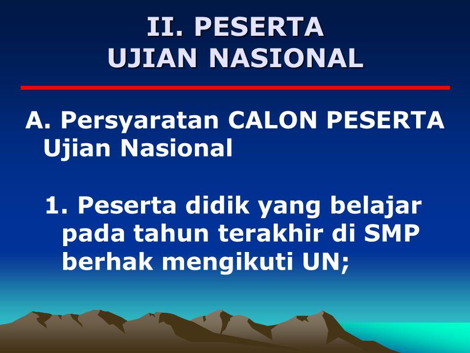 II.PESERTA UJIAN NASIONAL A. Persyaratan CALON PESERTA Ujian Nasional 1.