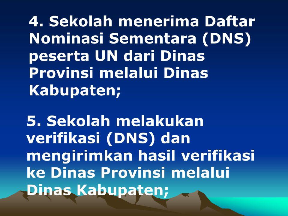 4. Sekolah menerima Daftar Nominasi Sementara (DNS) peserta UN dari Dinas Provinsi melalui Dinas Kabupaten; 5. Sekolah melakukan verifikasi (DNS) dan