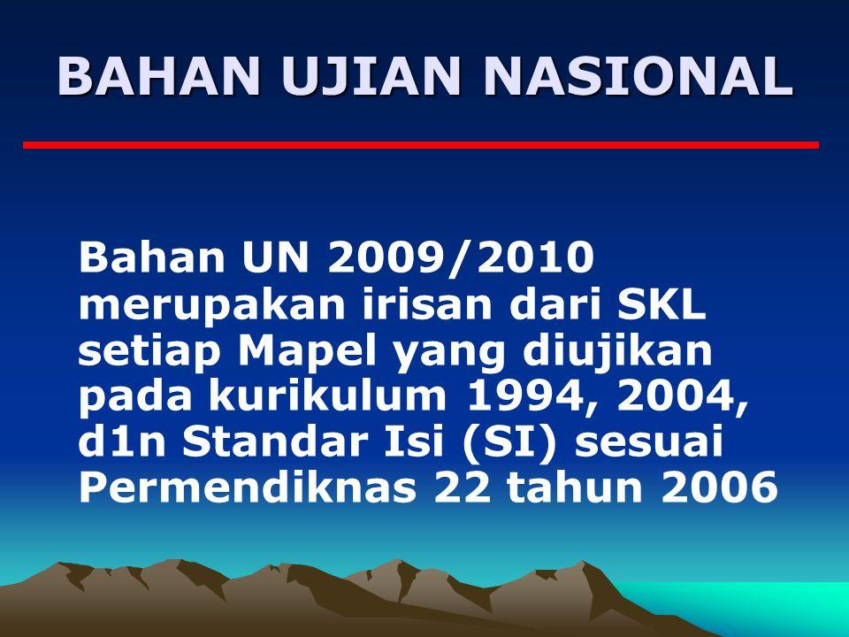 BAHAN UJIAN NASIONAL Bahan UN 2009/2010 merupakan irisan dari SKL setiap Mapel yang diujikan pada kurikulum 1994, 2004, d1n Standar Isi (SI) sesuai Permendiknas 22 tahun 2006