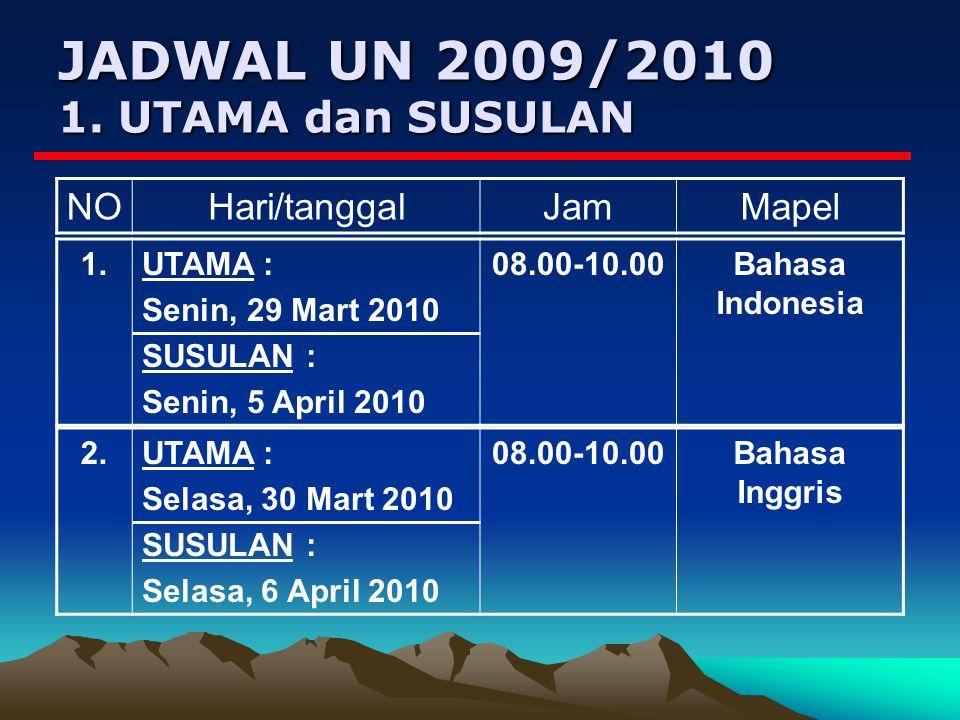JADWAL UN 2009/2010 1.