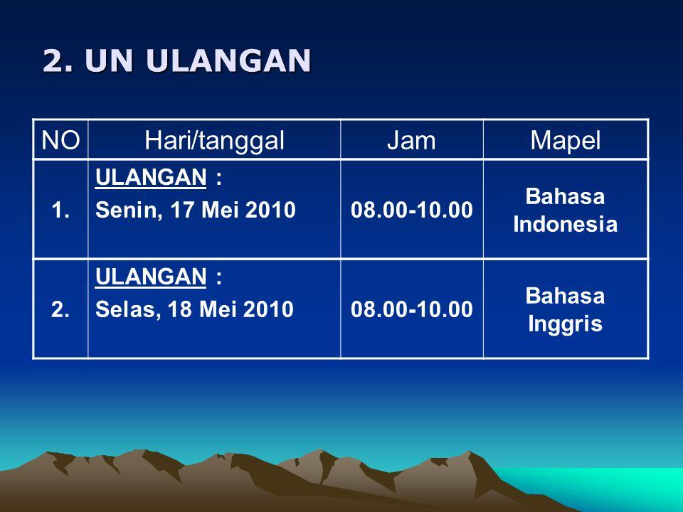 2.UN ULANGAN NOHari/tanggalJamMapel 1. ULANGAN : Senin, 17 Mei 201008.00-10.00 Bahasa Indonesia 2.