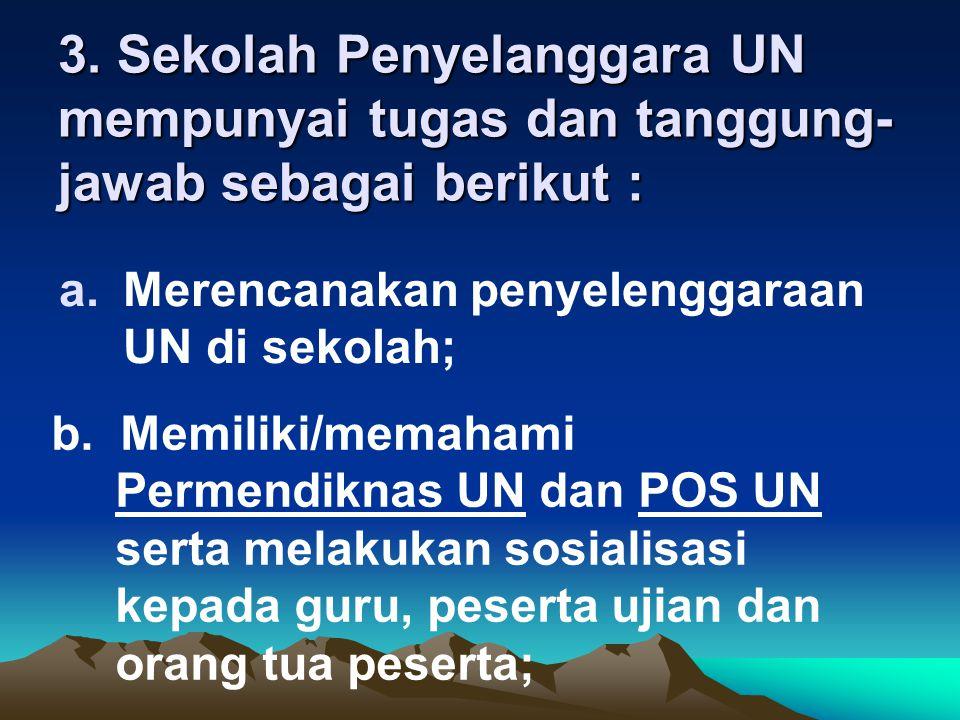 a.Merencanakan penyelenggaraan UN di sekolah; 3. Sekolah Penyelanggara UN mempunyai tugas dan tanggung- jawab sebagai berikut : b. Memiliki/memahami P