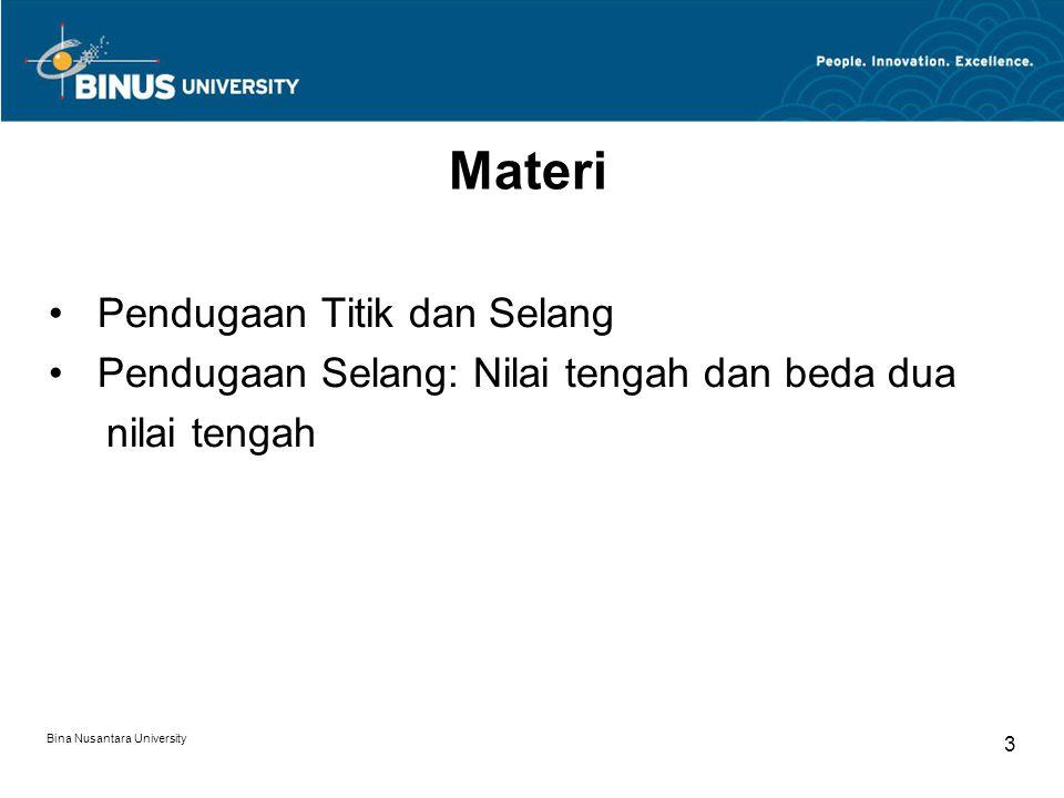 Bina Nusantara University 3 Materi Pendugaan Titik dan Selang Pendugaan Selang: Nilai tengah dan beda dua nilai tengah