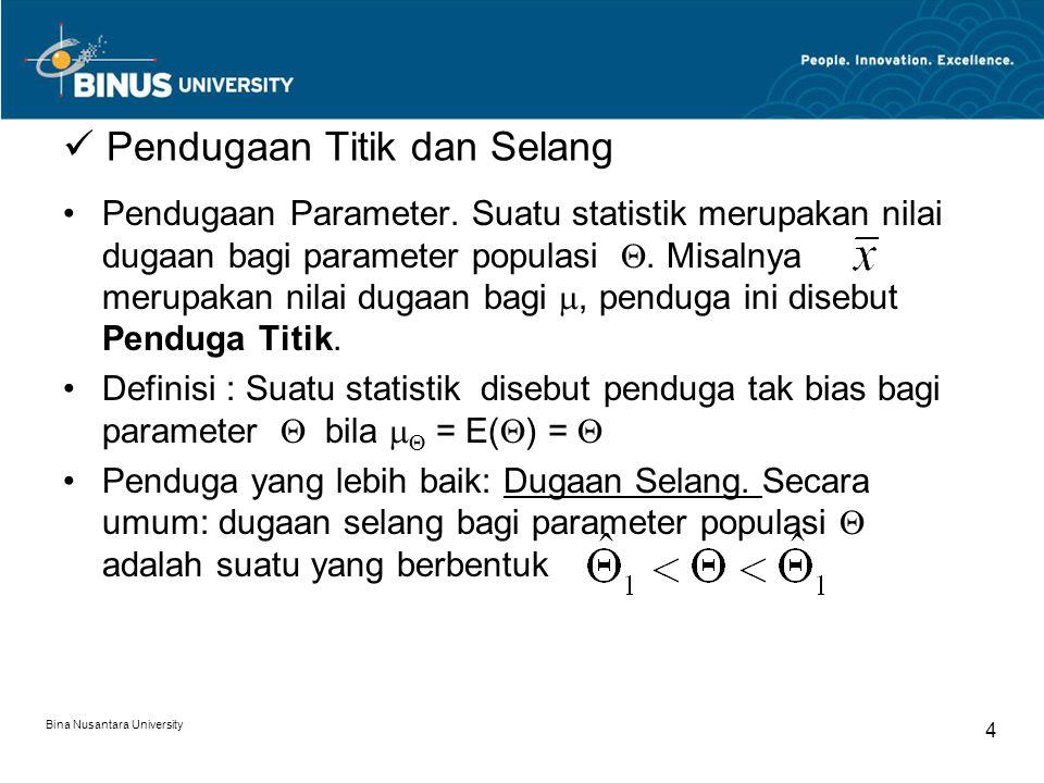 Bina Nusantara University 4 Pendugaan Titik dan Selang Pendugaan Parameter.