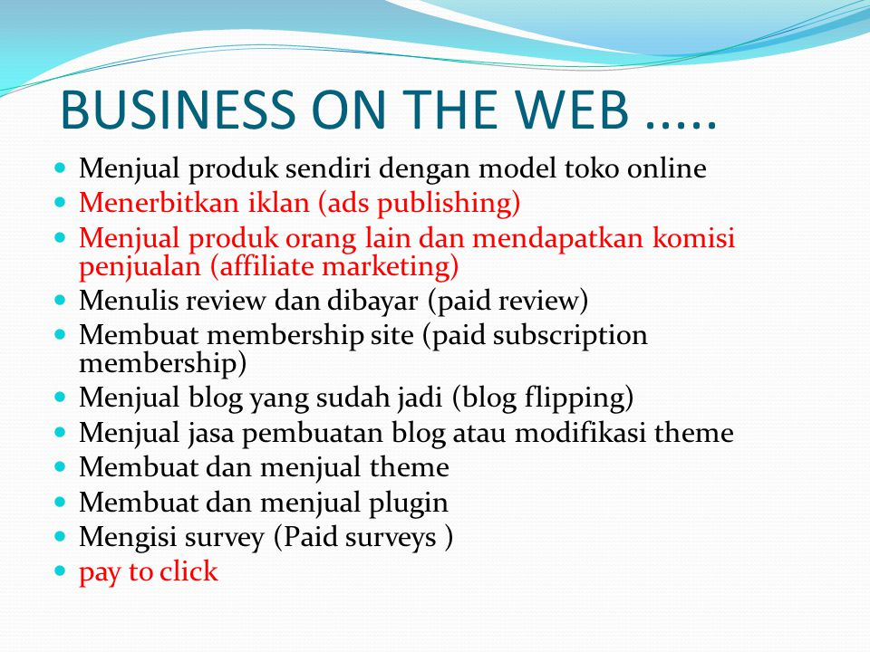 BUSINESS ON THE WEB.....