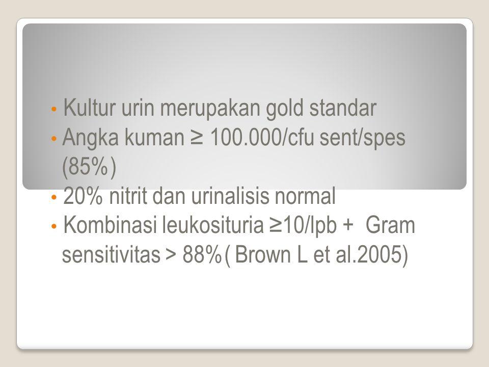 Kultur urin merupakan gold standar Angka kuman ≥ 100.000/cfu sent/spes (85%) 20% nitrit dan urinalisis normal Kombinasi leukosituria ≥10/lpb + Gram sensitivitas > 88%( Brown L et al.2005)