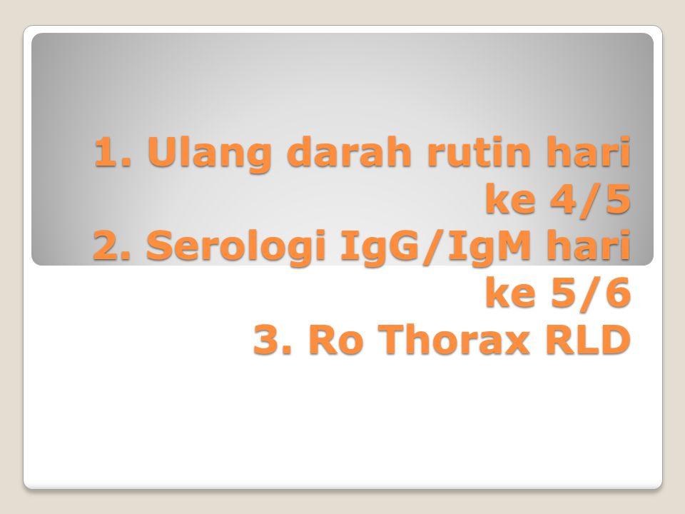 1. Ulang darah rutin hari ke 4/5 2. Serologi IgG/IgM hari ke 5/6 3. Ro Thorax RLD
