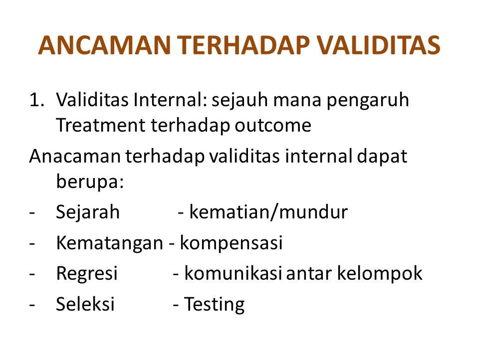 ANCAMAN TERHADAP VALIDITAS 1.Validitas Internal: sejauh mana pengaruh Treatment terhadap outcome Anacaman terhadap validitas internal dapat berupa: -S